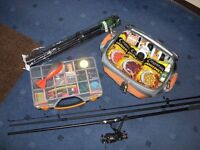 CARP ROD & REEL, BAG, STOOL, BAITS PLUS ACCESSORIES.