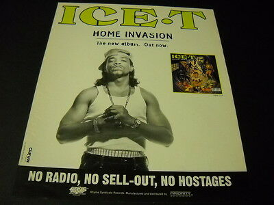 ICE T No Radio - No Sell-Out - No Hostages from HOME INVASION 1993 Promo Ad mint