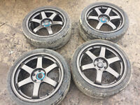 """18"""" Rota Grids 5x114 with tyres 8.5j et44 alloys civic type r ep3 ep2"""