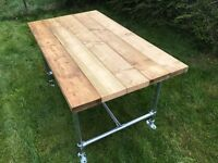 Hand made - Industrial Style Wood Table With Galvanised Tube Frame