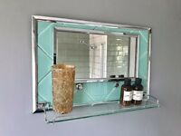Vintage Retro Bathroom Mirror with Shelf #344
