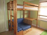 pine midi sleeper bunk bed with matress & ladder.