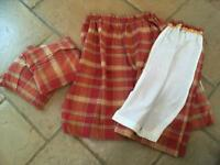 Terracotta chenille CURTAINS and Roman blinds Exc Cond Lined