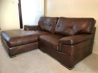 SCS Endurance Diamond Brown Leather Sofa & Chair 2/3 Seater Settee Armchair Couch Corner Chaise