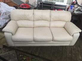 Large 3 Seater Cream Leather Sofa