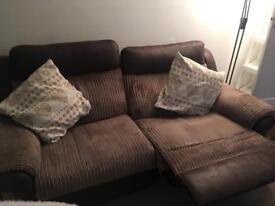 Recliner sofa brown