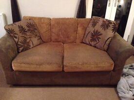 2/3 Seater Brown Sofa Bed