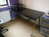 Glass desk with top piece for monitor