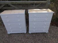 SOLID PINE CHEST OF DRAWERS--5 DRAWERS --PAINTED WHITE -TOP SANDED + WAXED --2 FOR SALE £99 EACH --