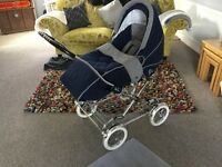 Silver cross Pram/pushchair used in very good condition Blue in colour chrome frame little used