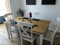 Zara Dining table with 6 chairs- only 3 weeks old- too large for dining room