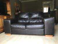 Only one left!! Two-seater leather sofa from DFS, in used condition but of a high quality.