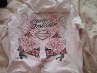 harley davidson white hoodie rrp 150 with crystal