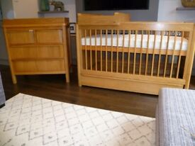 Excellent Condition M&S Chloe Nursery Furniture - Cot Bed and Changing Unit in Oak
