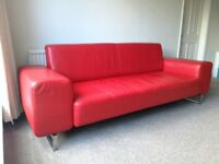 ANARIC designer's red leather sofa 3 seater wide arms - rare find