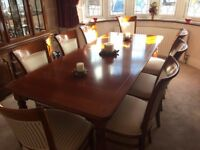 Hardwood Dining Table and 8 Chairs. Louis Phillippe style made by Selva