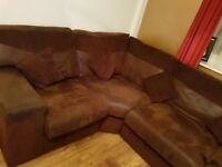 Brown left corner sofa plus two single seaters