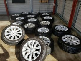 Selection of around 70 LandRover/RangeRover New and Used Alloy Wheels - most with Tyres