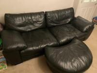 DFS Black Leather Sofa & Footstool