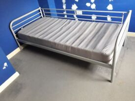 Ikea Metal Single Bed Frame with 3 under bed draws
