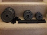 AS NEW WEIGHTS CAST IRON DUMBELL SET