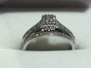 #102 10K HELLO VALENTINES DAY WHITE GOLD DIAMOND WEDDING SET *SIZE 7 1/2* APPRAISED AT $2100.00 SELLING FOR ONLY $595.00