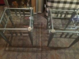 Glass top side tables