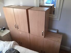 Beech Kitchen units, with slow/silent close doors and all mounting brackets. Excellent condition.