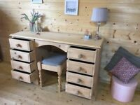 Farmhouse rustic solid pine wooden double dressing table and stool bedroom set