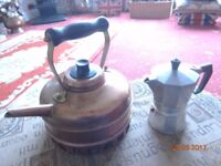 Old Copper Kettle and Italian Espresso Maker in stainless steel