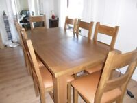 Solid Reclaimed Oak Extending Table Sitting 10 - 12 People & 8 Tan Leather Seat Chairs