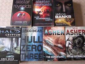 7 Science Fiction Books Job Lot Alistair Reynolds , Neal Asher , Greg Bear, Iain Banks