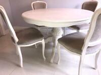 French shabby chic dining table and chairs