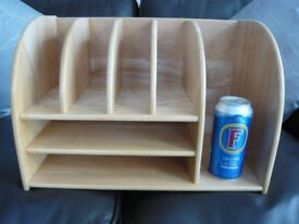 LARGE WOOD LETTER RACK/DESK ORGANIZER.