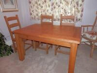 Dining furniture in oak - table, 6 chairs, sideboard and display unit - VGC, will separate