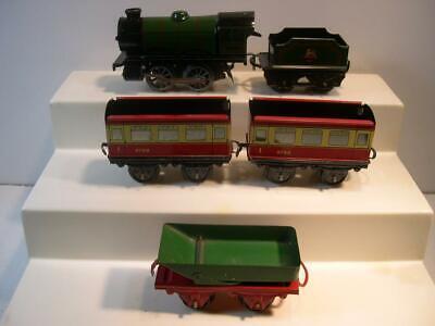 5 Tin Hornby Train Prewar Clockwork Windup British Railways Locomotive with Cars