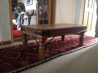 Wooden, rectangle coffee table with wood turned legs