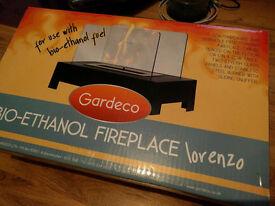 Bio-ethanol glass & stainless steel fireplace, brand new