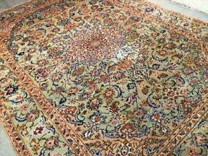 Vintage Semi-Antique Persian Rug, Handmade Carpet, Wool, Stage Green, Navy Blue and Brown,Blue