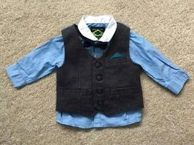 Boys 3-6 month shirt, waistcoat and bow tie