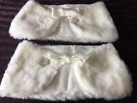 2 x fun fur shrugs In Ivory