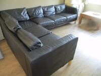IKEA 6 seater leather corner sofa with seperate chair