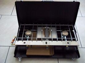 Camping Gaz Double Burner Stove & Grill with Gas Cylinder, Hose & Regulator.