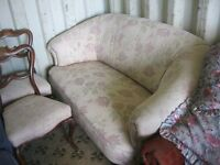 VINTAGE ORNATE OAK FRAMED 2 SEATER SOFA. BEAUTIFULLY UPHOLSTERED. VIEWING/DELIVERY AVAILABLE
