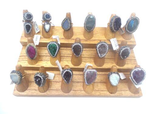 Natural Solid Wood Ring Display