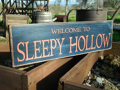 Distressed Primitive Country Wood Sign - Halloween Sleepy Hallow  5.5