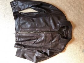 "Men's brown leather jacket & waistcoat. Size 38 - 40""."