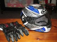 Good all around used condition HJC helmet and Gore Tex motorcycle gloves, good quality items.