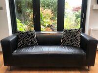 Black Faux Leather IKEA Sofa