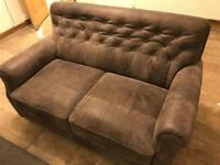 Genuine leather suede sofa